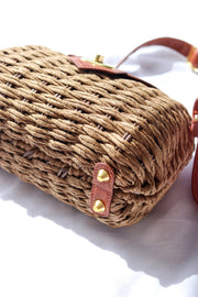 Womens Brown Woven Clutch Bag Feather Fox Boutique Burleigh Heads