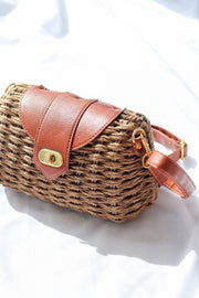 Womens Brown Wicker Woven Clutch Bag Feather Fox Boutique