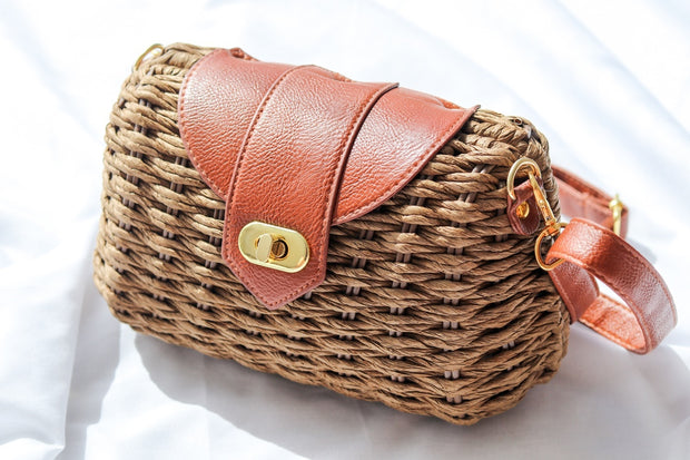 Brown Wicker Woven Clutch Bag Feather Fox Boutique