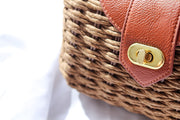 Brown Wicker Woven Clutch Bag Feather Fox Boutique Gold Coast