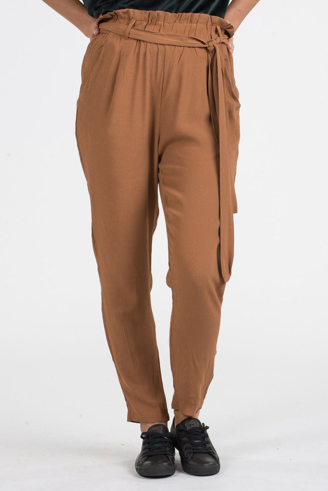 Womens Burnt Brown High Waist Pant