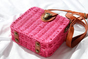 Womens Pink Basket Clutch Wicker Bag Feather Fox Boutique Burleigh Heads