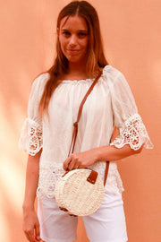 Womens White Basket Round Bag