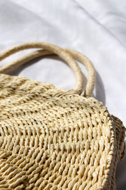 Women's Round Woven Straw Basket Bag Feather Fox Boutique Burleigh Heads