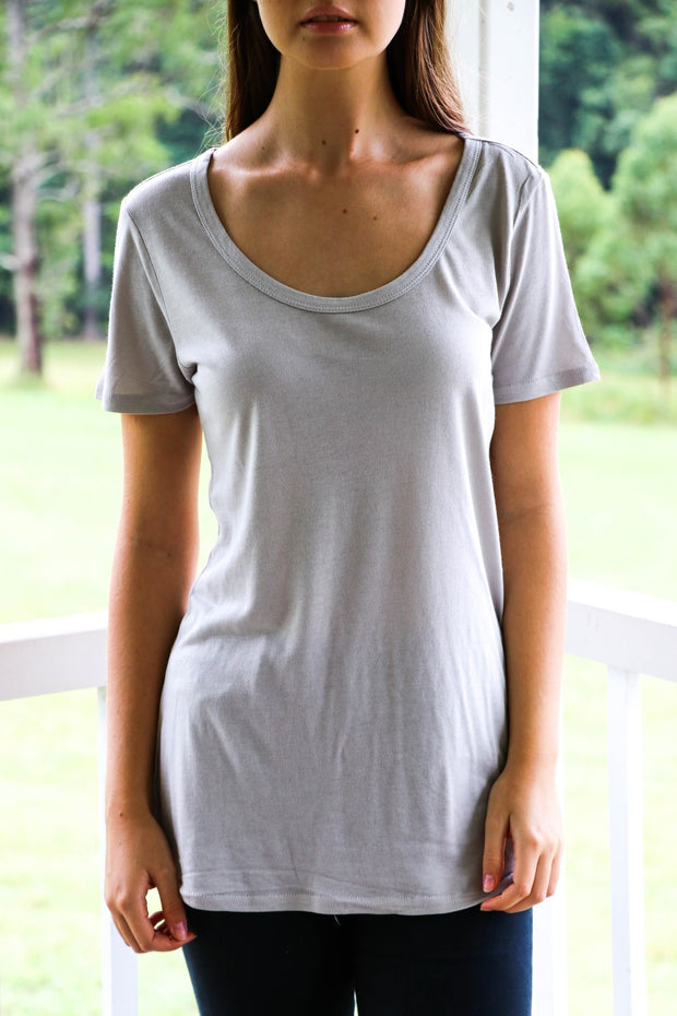 Women's Taupe Tshirt Feather Fox Boutique