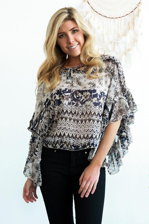 Navy Garden Frill Womens Top