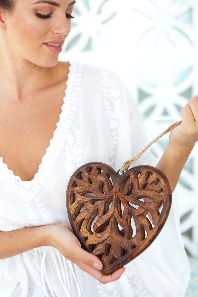 Boho Homewares Wooden Heart Carving by Feather Fox Boutique