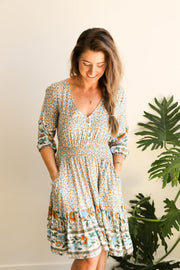 Woodstock Vintage Floral Dress - Boho Shirt Dress Feather Fox Boutique