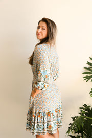 Woodstock Vintage Floral Dress - Boho Shirt Dress Feather Fox Boutique Gold Coast