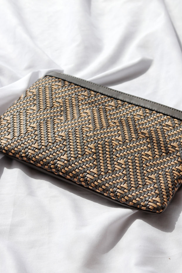 Woven Vegan Leather Zip Pouch Feather Fox Boutique