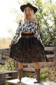 Avahna Flower Black Lace Boho Skirt