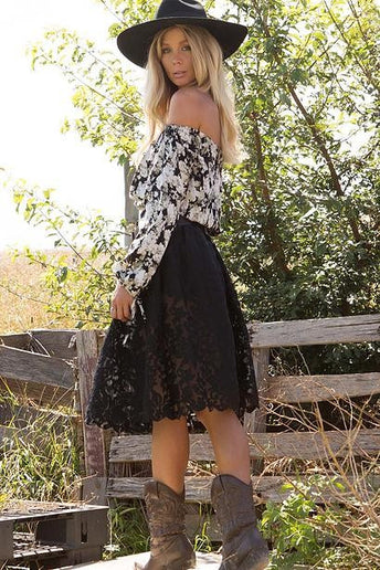 Avahna Flower Black Boho Skirt