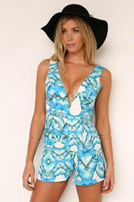 Blue Palm Leaf Playsuit