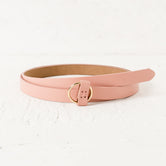 Pink & Gold Thin Circle Buckle Women's Belt