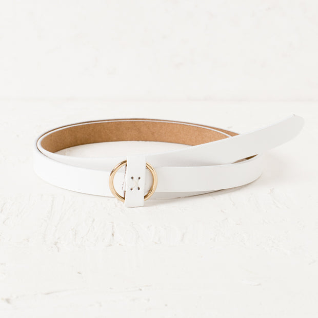 White & Gold Thin Circle Buckle Women's Belt