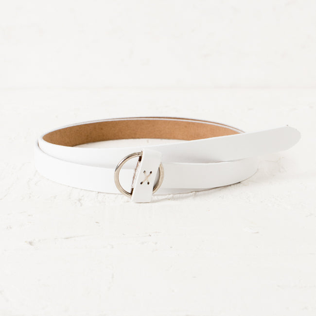 White & Silver Thin Circle Buckle Women's Belt