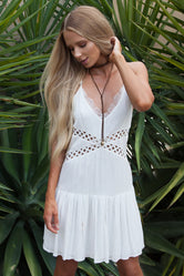 Wilderness White Boho Short Dress
