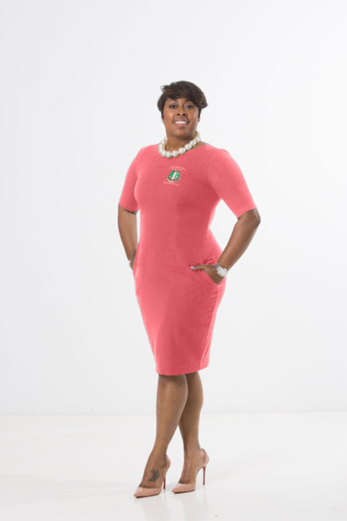 Camille Sheath Dress - Salmon Pink