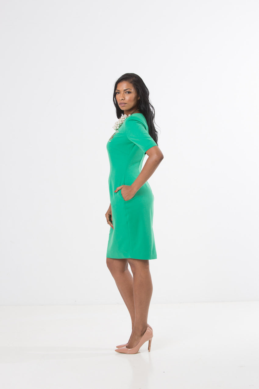 Camille Sheath Dress - Apple Green