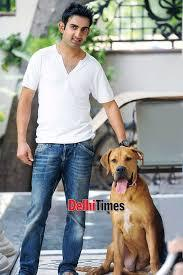gambhir with his pet dog