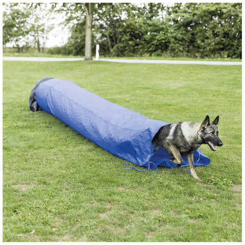Dog Agility Sack Tunnel, Blue, ø 2 ft. Height / 16.5 ft. Length