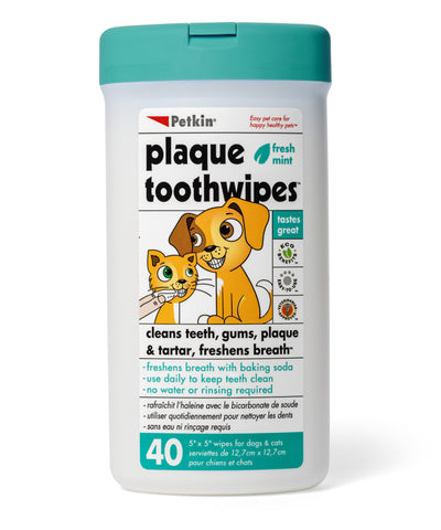 Petkin Plaque Fresh Mint Tooth Wipes for Pets