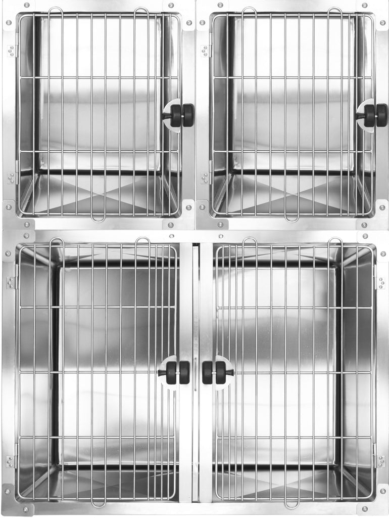Aeolus Stainless Steel Round Corner Modular Cage-Two-Tier (1L + 2M) with drainage system