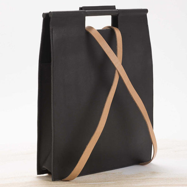 Women's rectangle black painted bag
