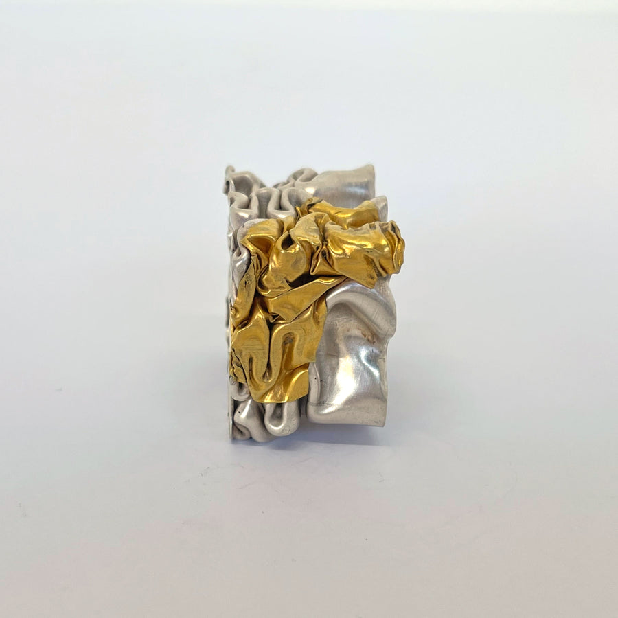 Crushed Silver & Gold-Patch Ring