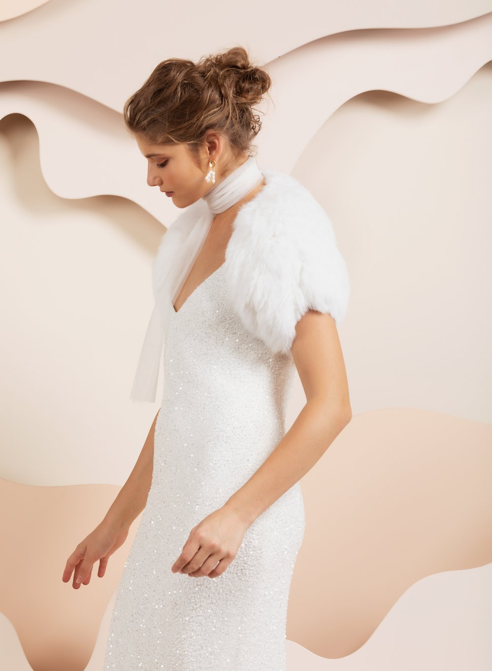 Cap Sleeve Fur Bridal Bolero - White