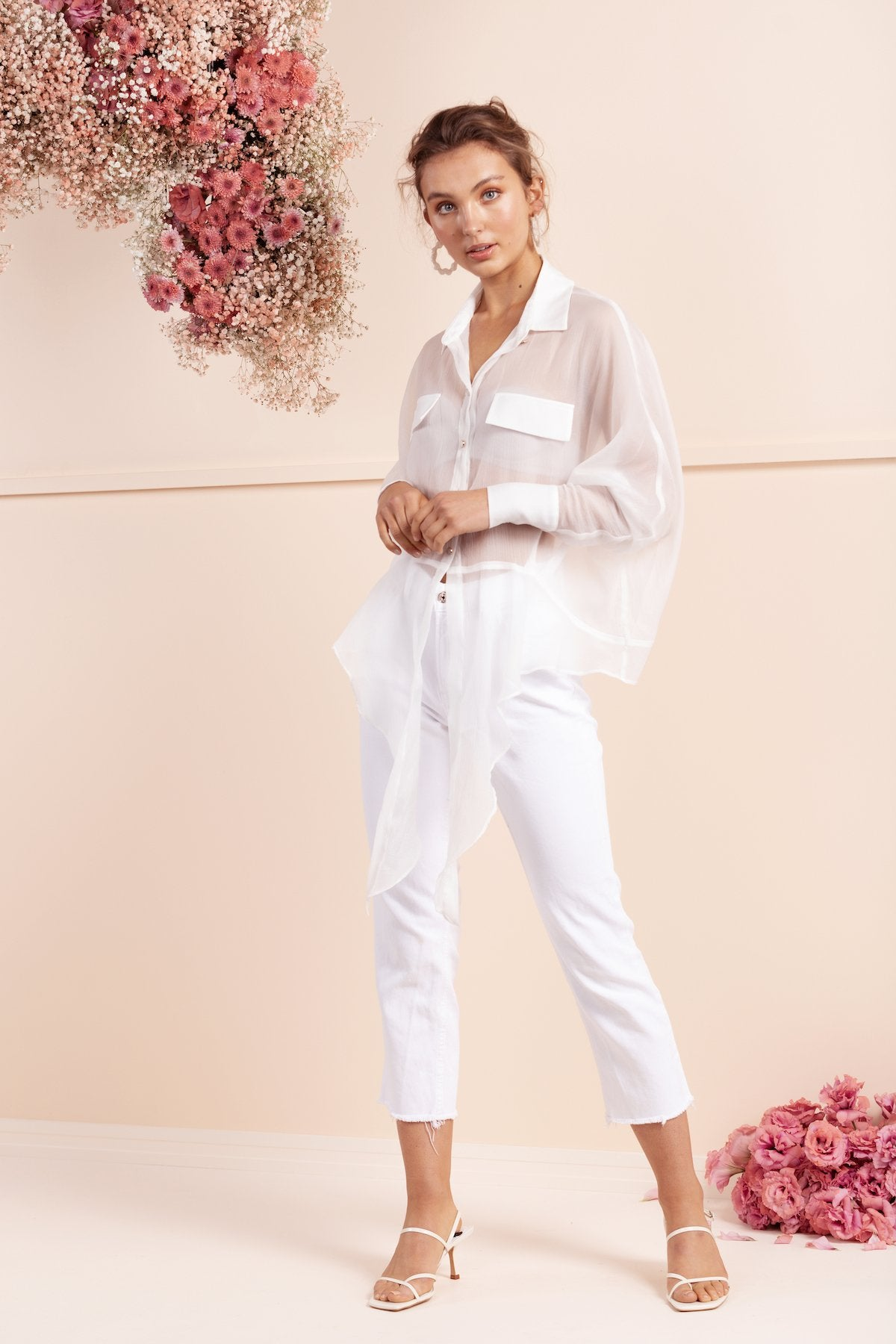 gorgeous bubish white silk shirt