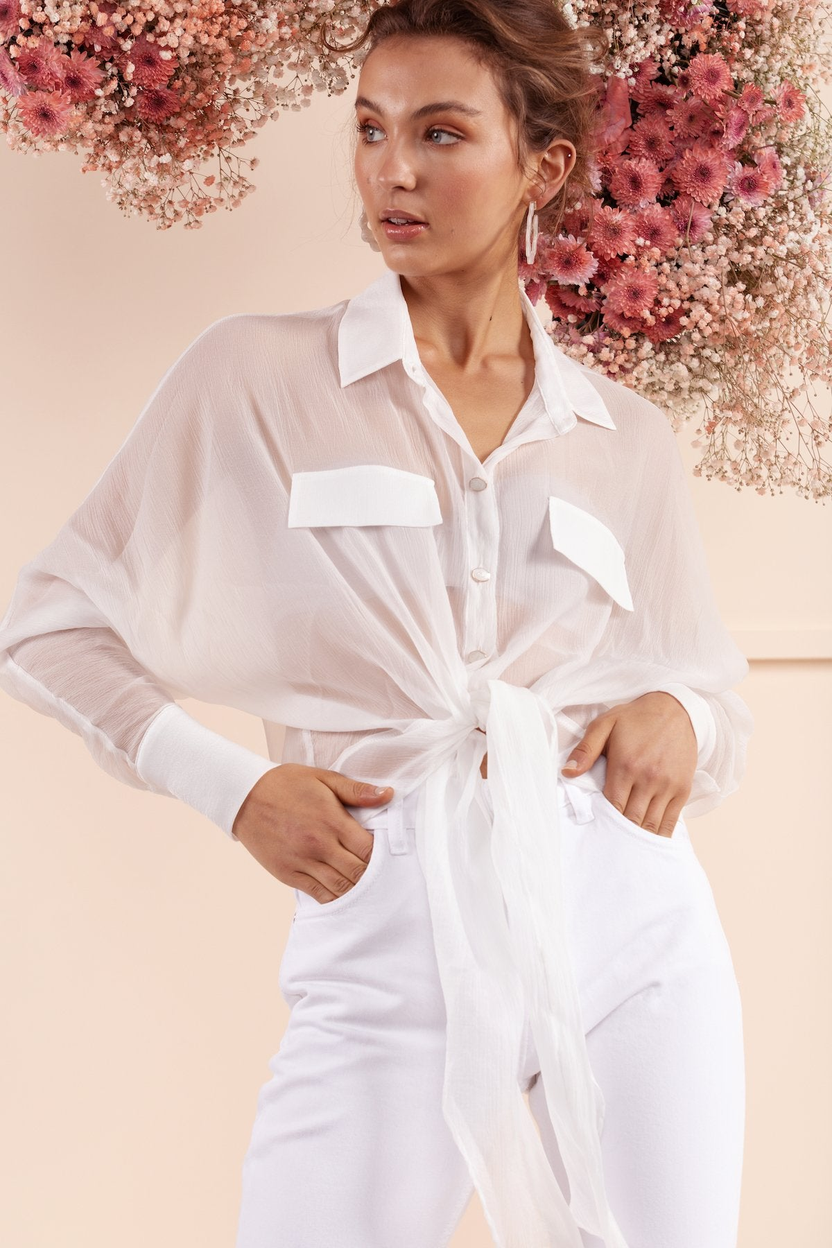 light weight bubish white silk shirt