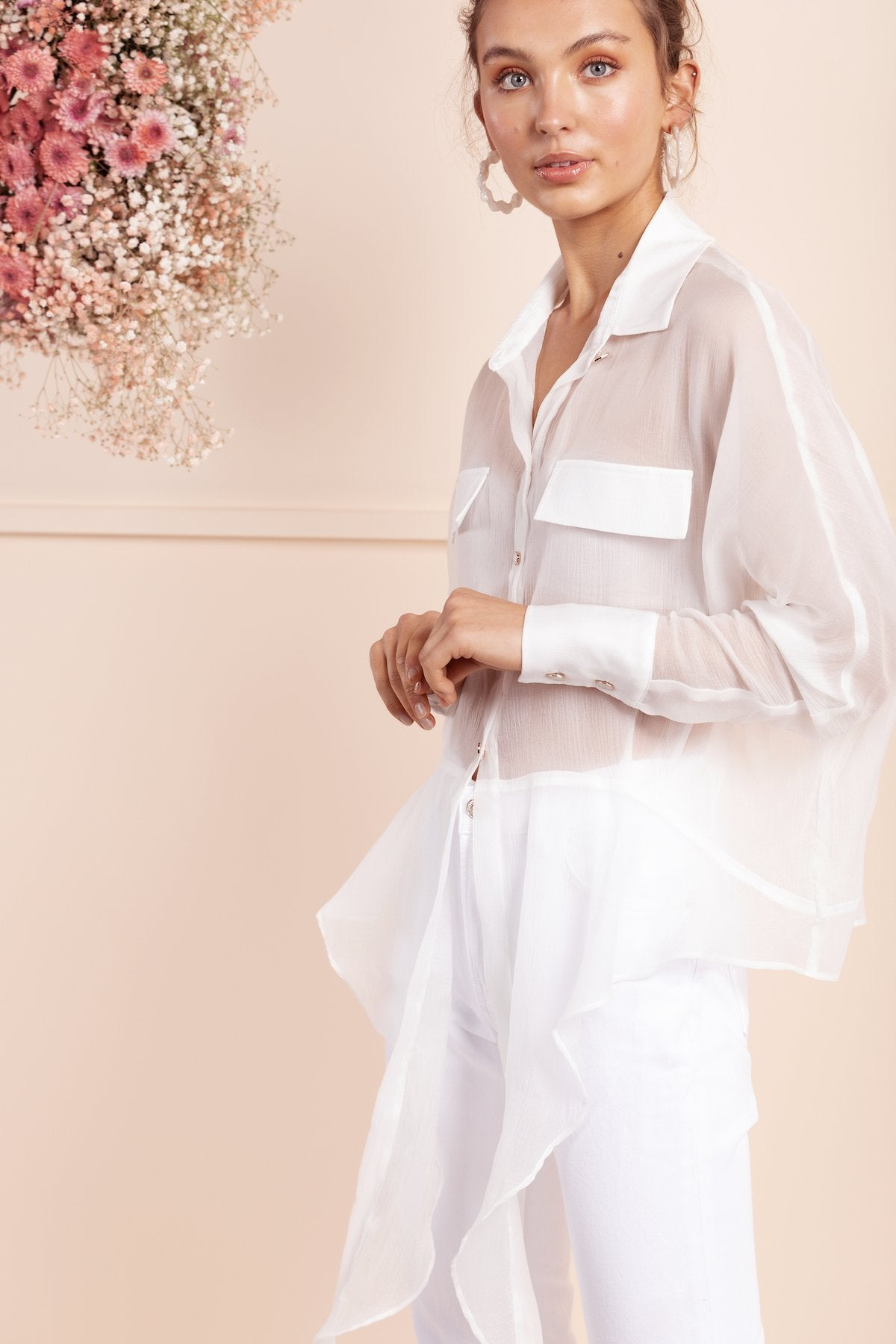sheer bubish white silk shirt