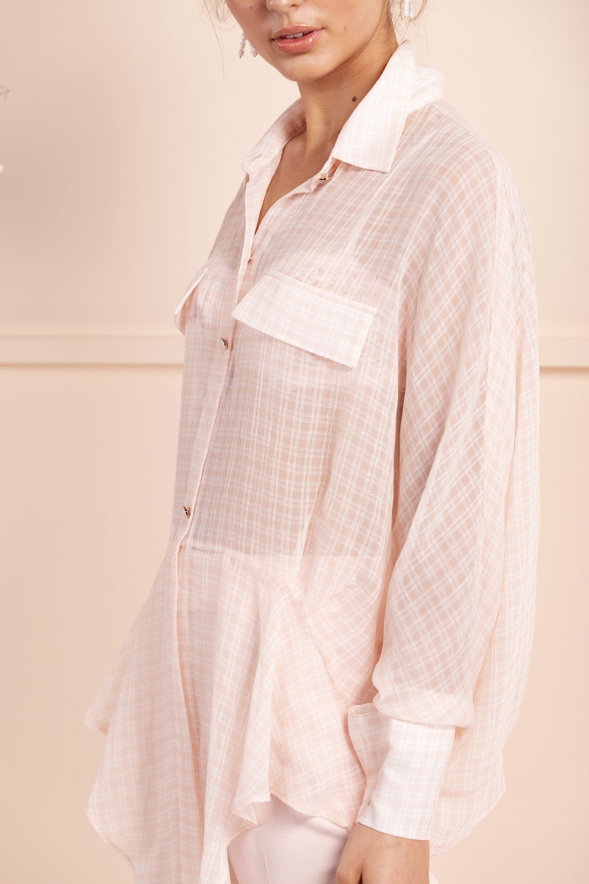 gorgeous bubish pink check silk shirt