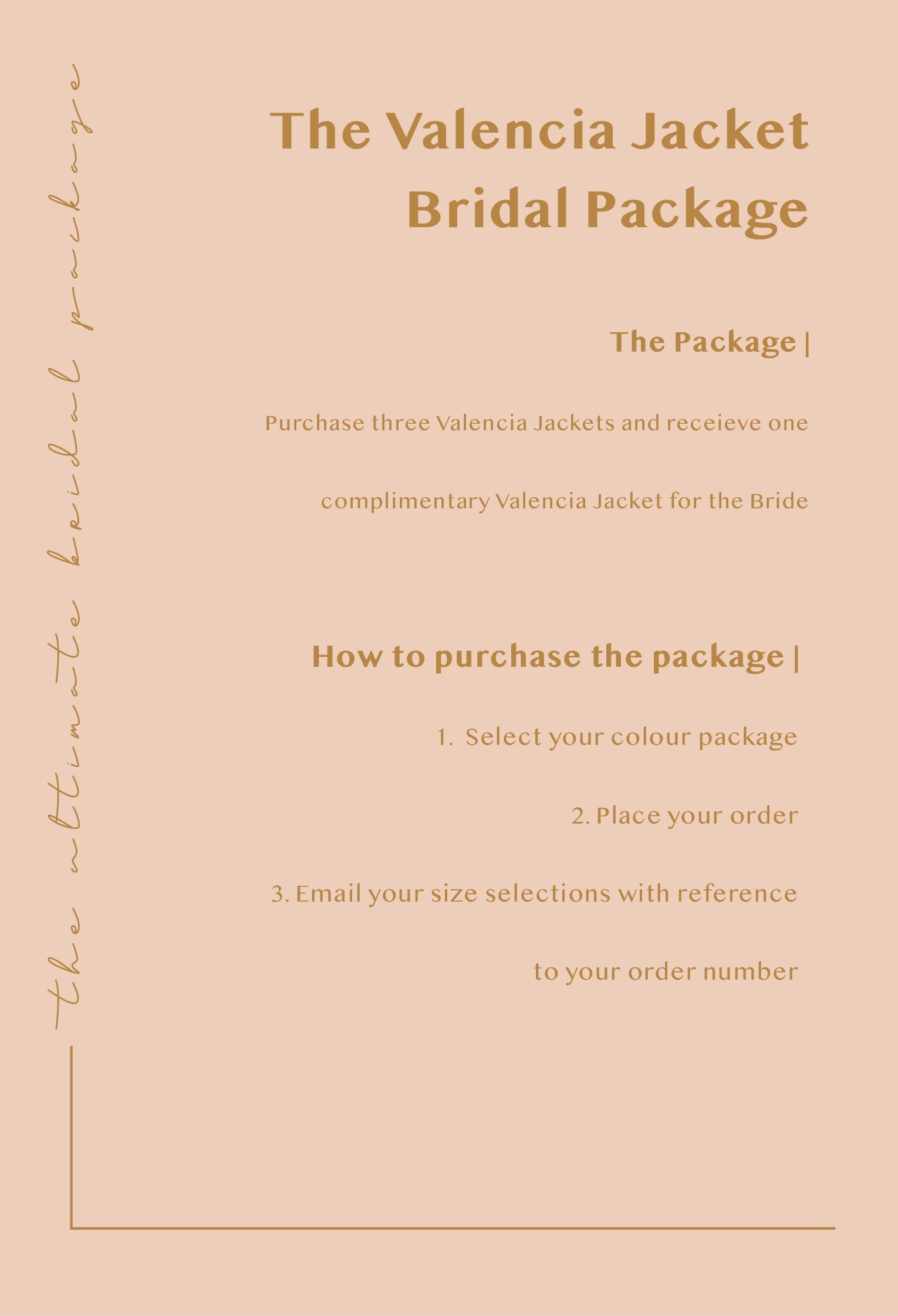 Valencia Bridal Package - 3 x Jackets + 1 complimentary