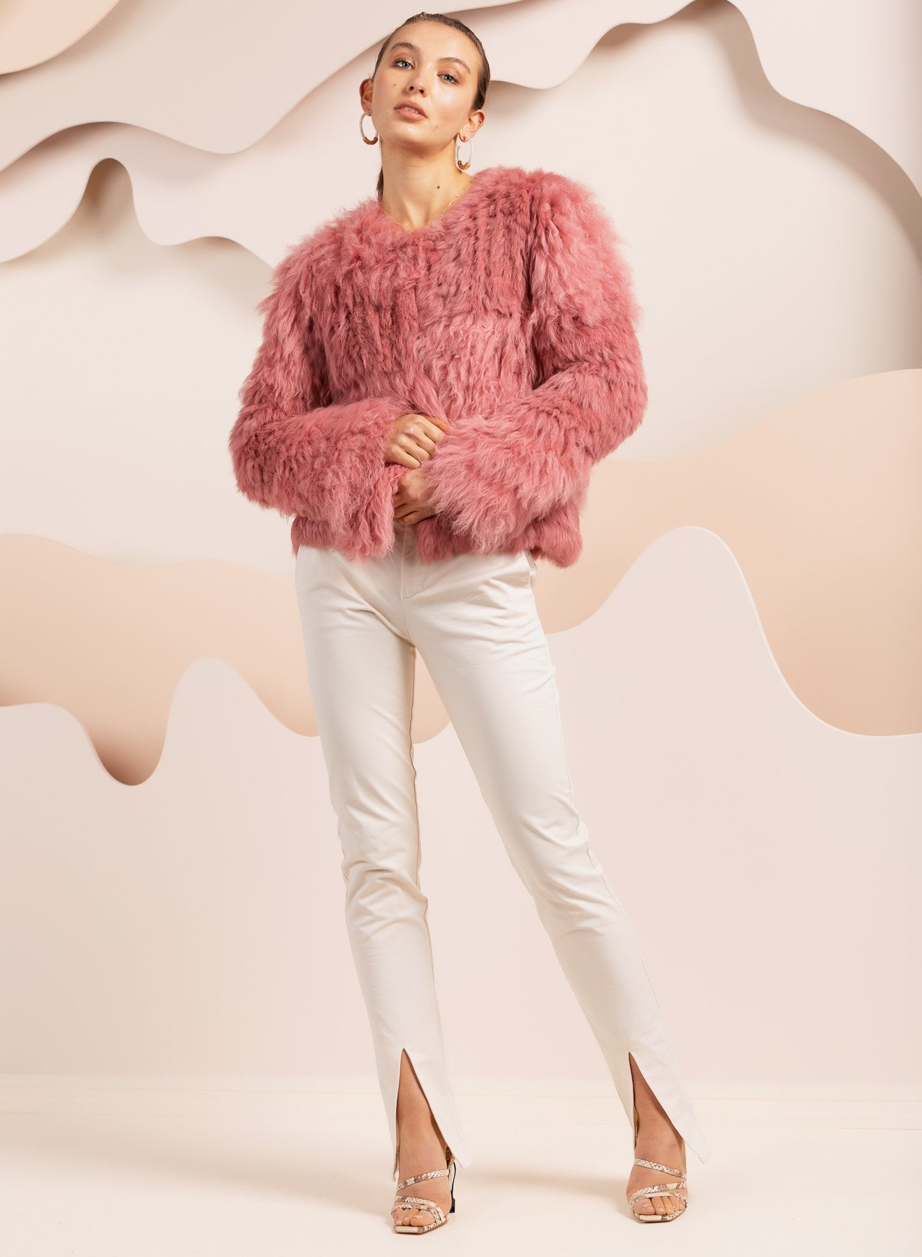 oversized real fur jacket in pink