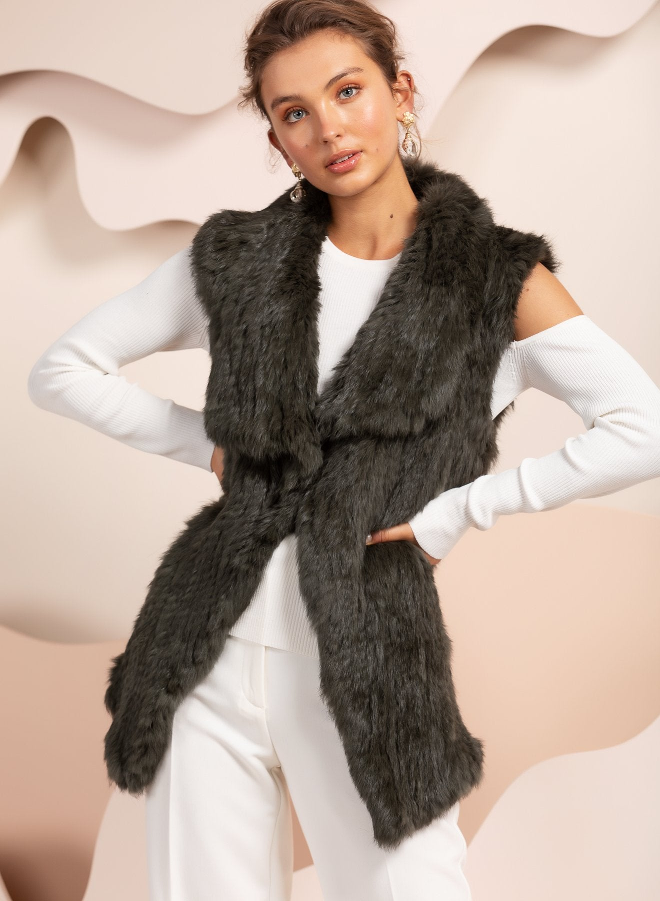 Barcelona Forest Green Fur Vest