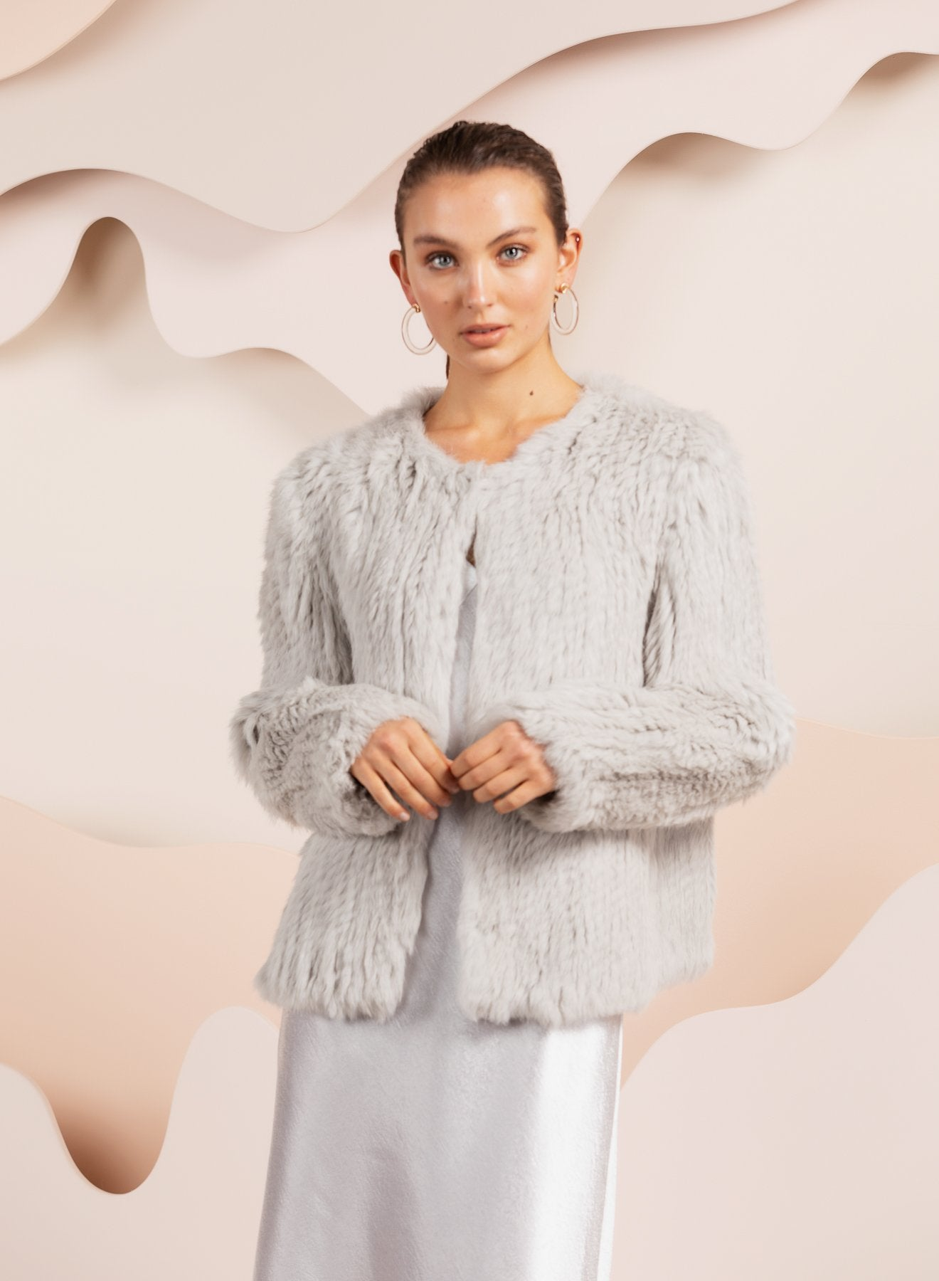 Coletta Light Grey Fur Jacket