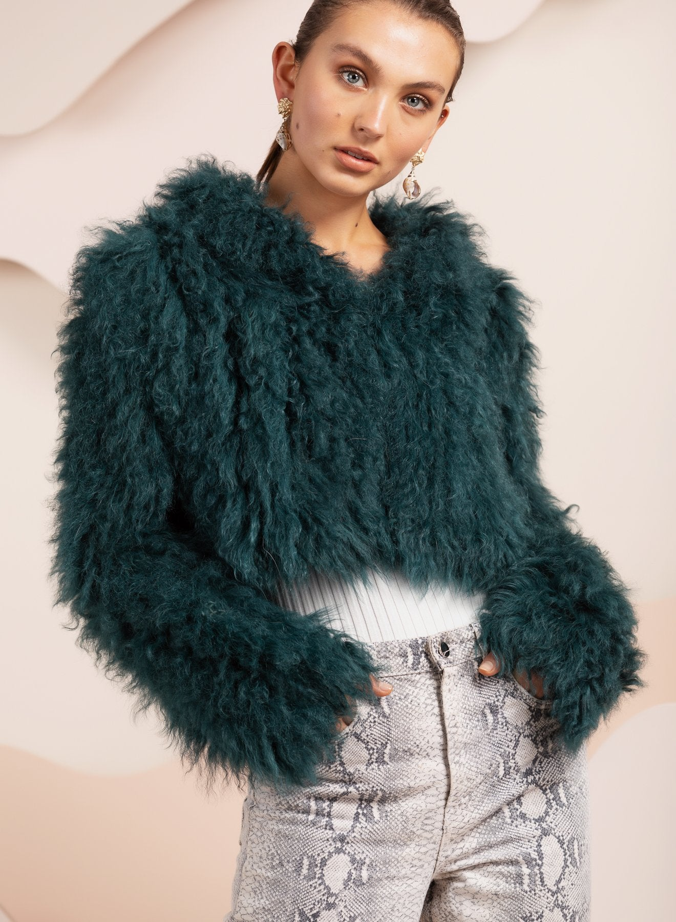 Crop lamb fur green fur jacket