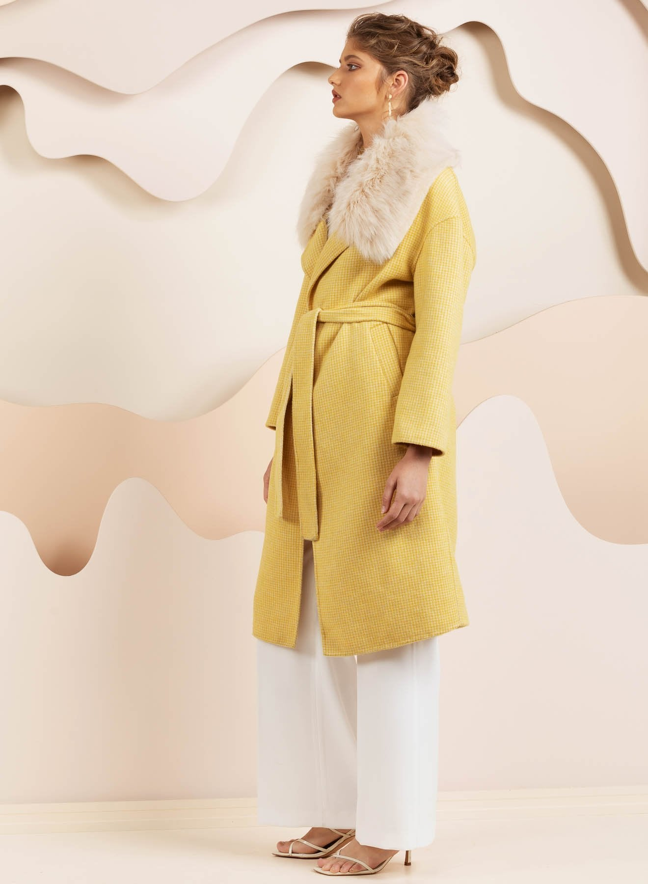 Yellow faux fur twead yellow coat by bubish