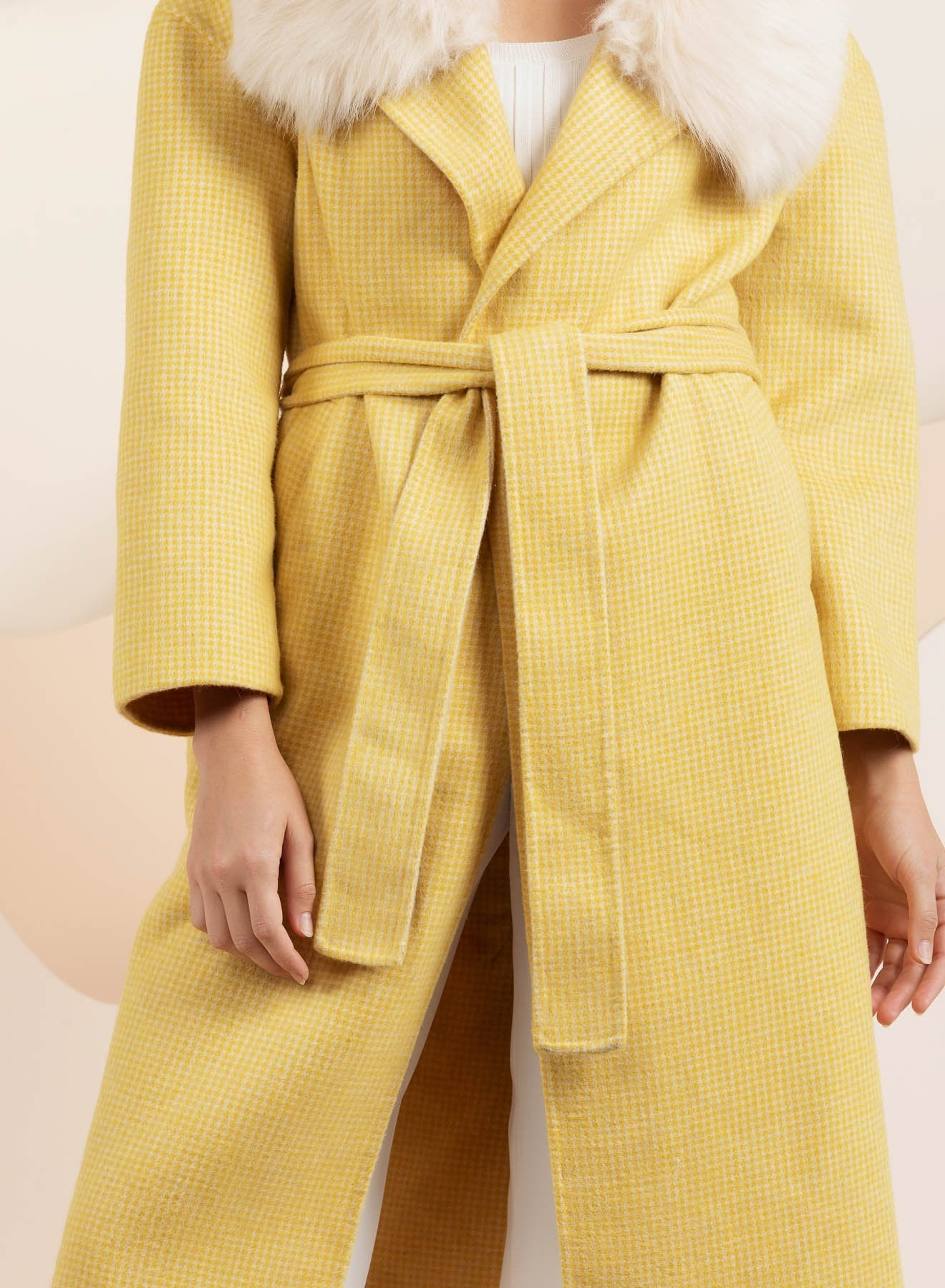 Yellow faux fur yellow coat by bubish