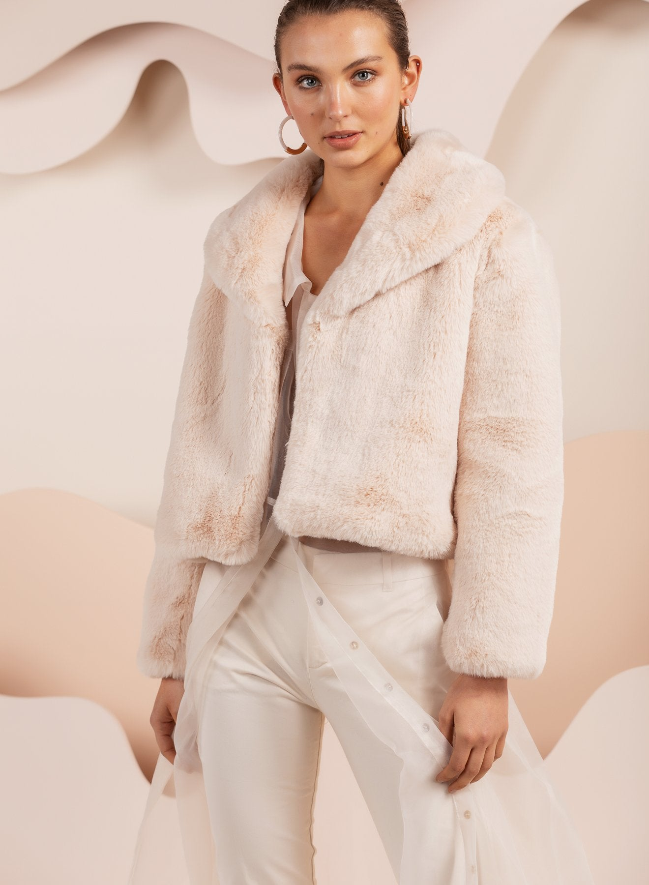 Crop faux fur jacket in oatmeal pink by bubish