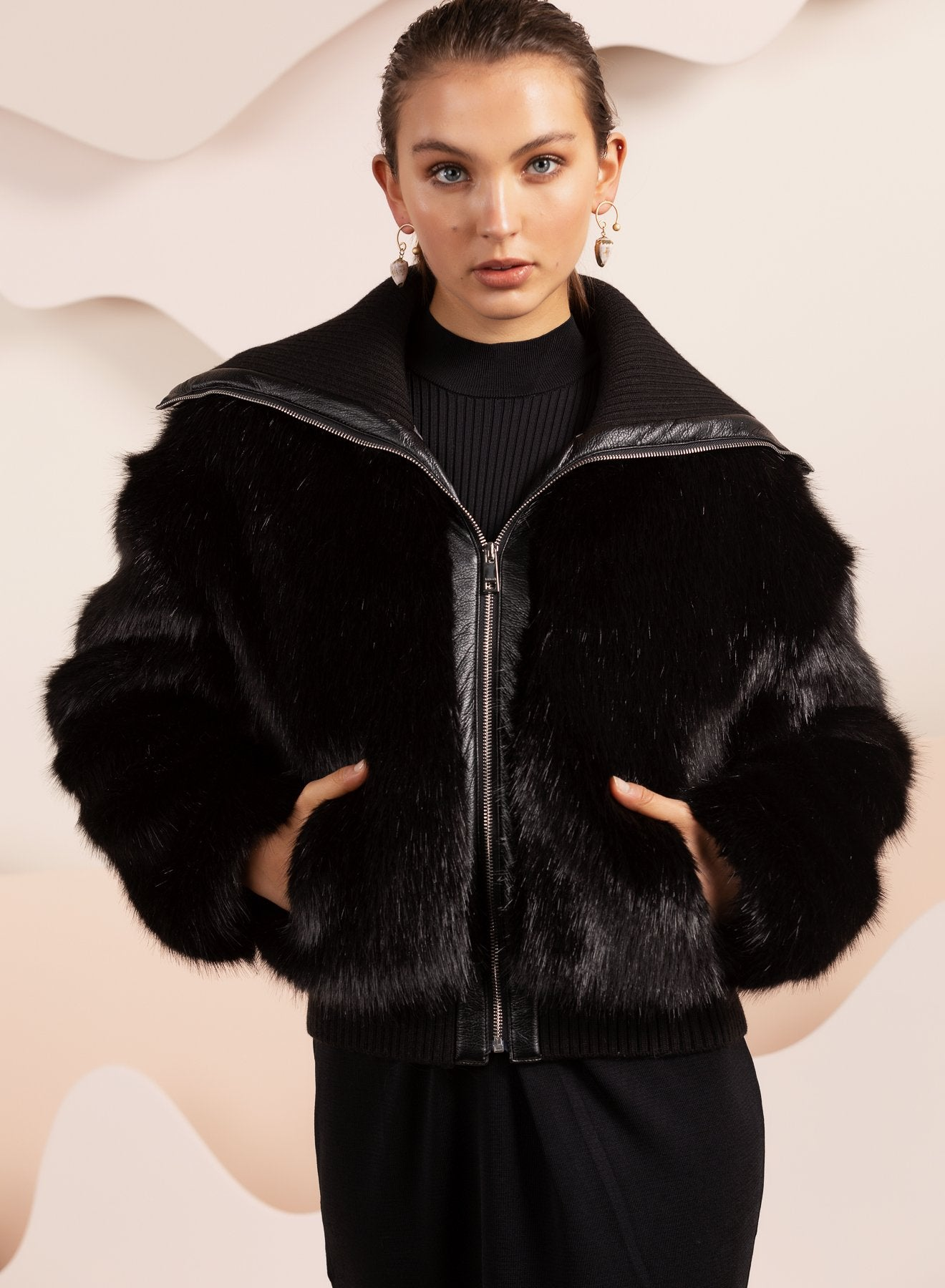 Black Faux fur biker relaxed jacket