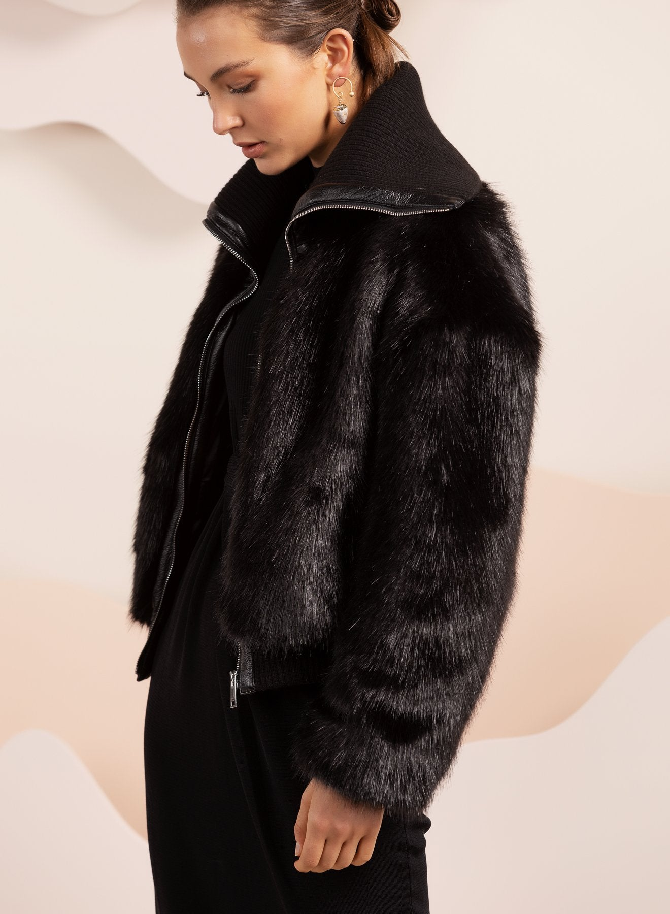 wide collar faux fur jacket in black by bubish