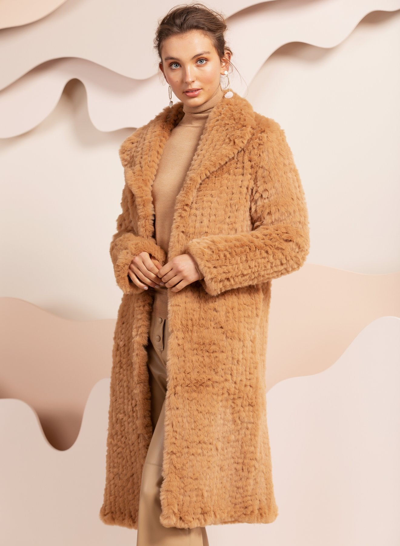 Faux Fur Oxford Beige Coat