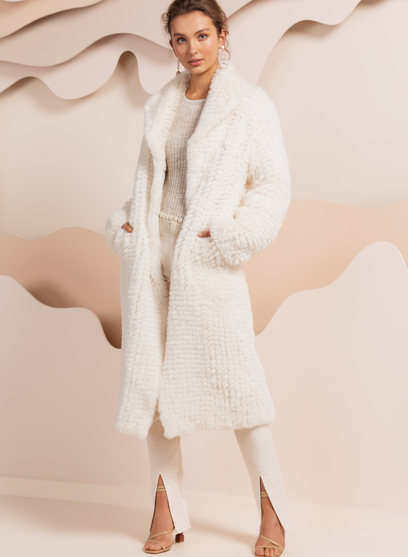 Faux Fur Oxford White Coat Jacket Bubish Luxe