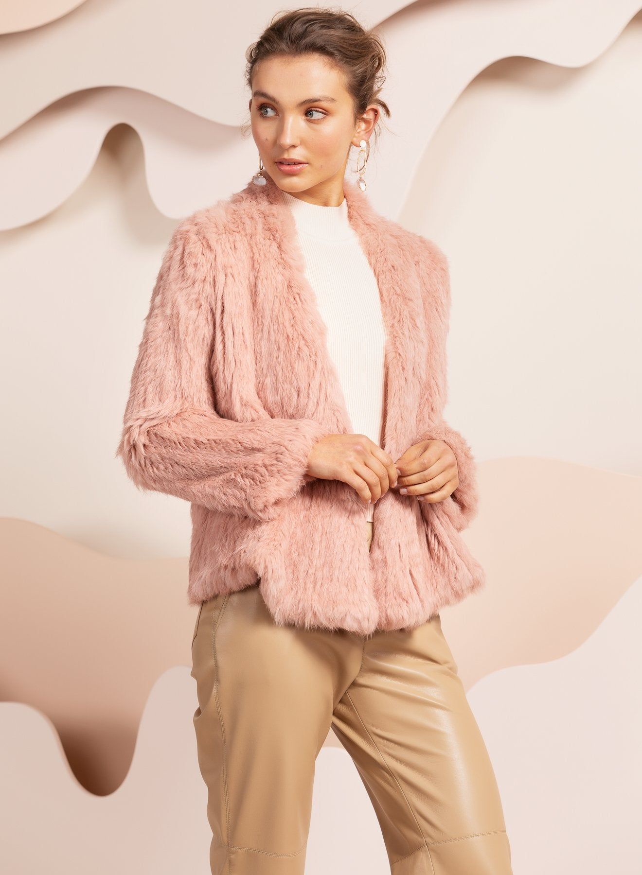 dusty pink real fur jacket by bubish