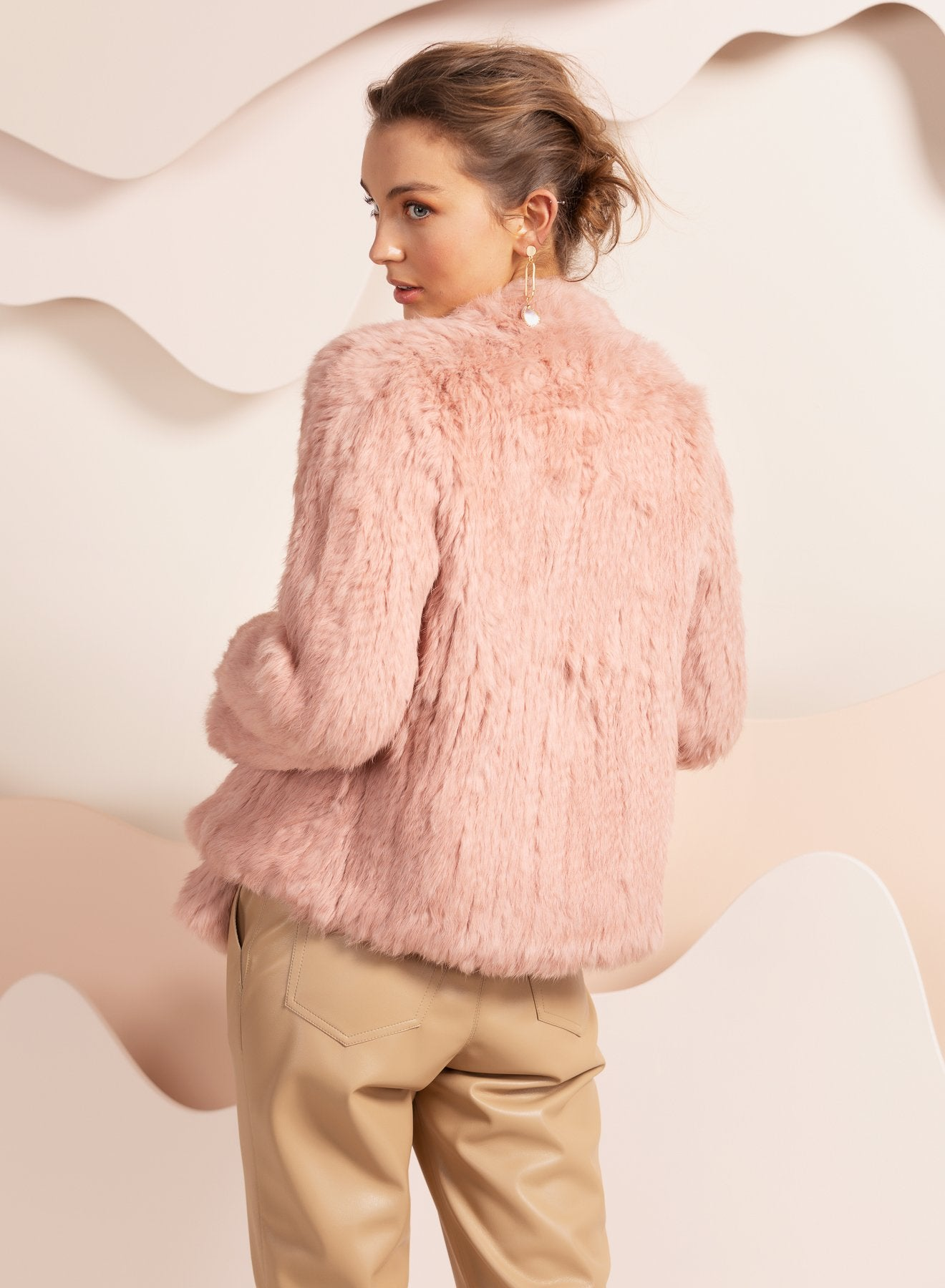 dusty pink valencia real fur jacket Australia by bubish