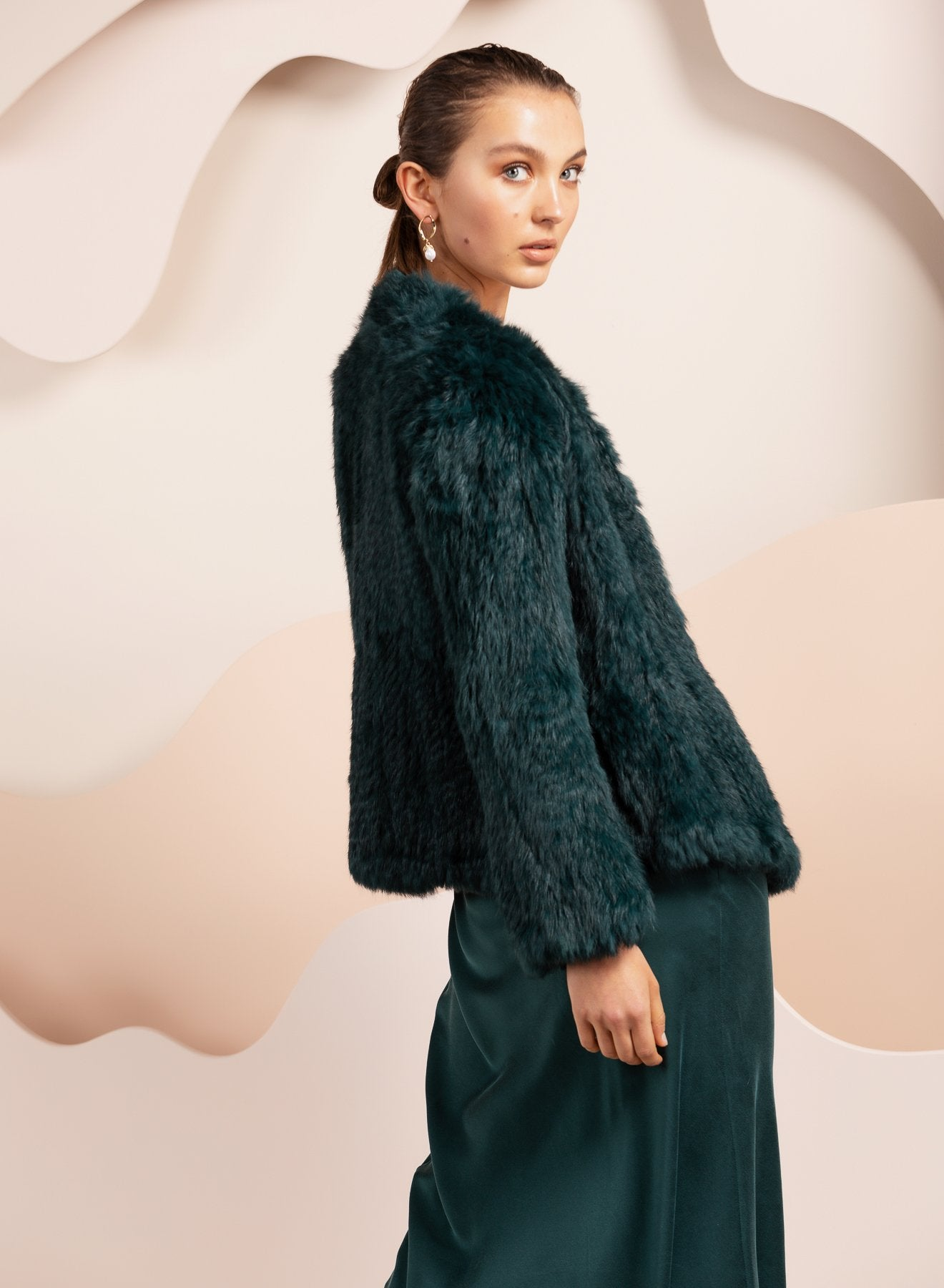 emereld green rabbit fur jacket australia