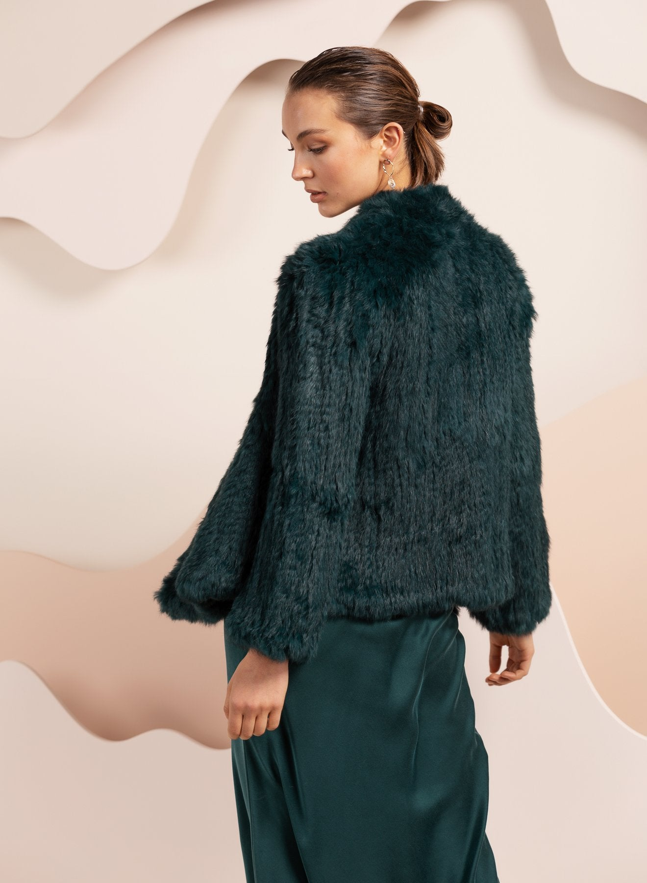 bubish emereld green real rabbit fur jacket for evening